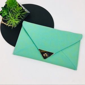 Street Level Turquoise Envelope Clutch
